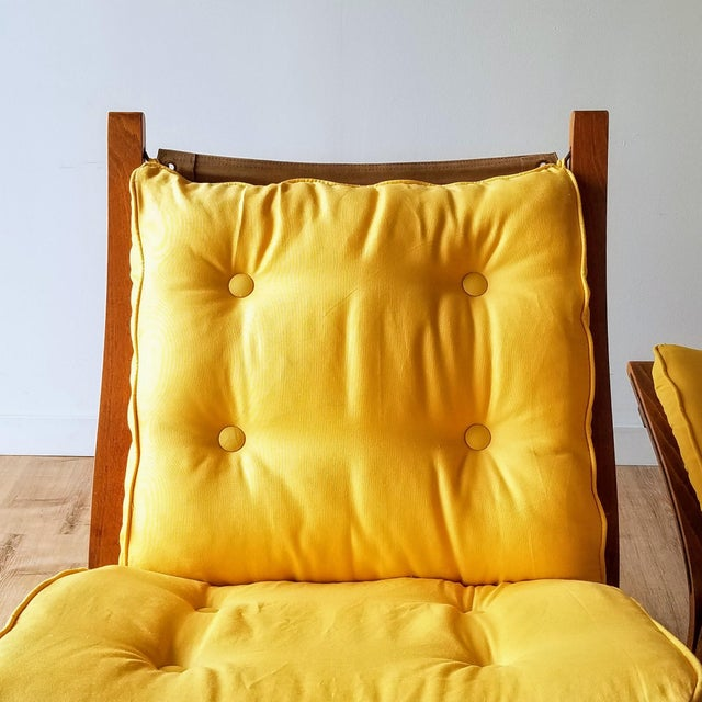 """Yellow 1970s Ingmar Relling Newly Upholstered """"Seista"""" Chairs - a Pair For Sale - Image 8 of 13"""