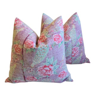 "Bohemian Chic Lavender, Green & Rose Floral Batik Feather/Down Pillows 24"" Square - Pair For Sale"