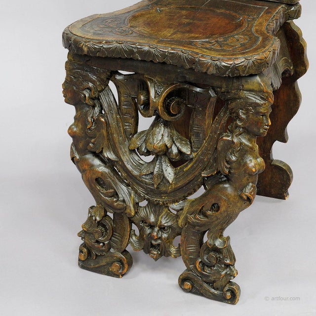 A Great Renaissance Style Italian Sgabello Chair Ca. 1860 For Sale - Image 6 of 13