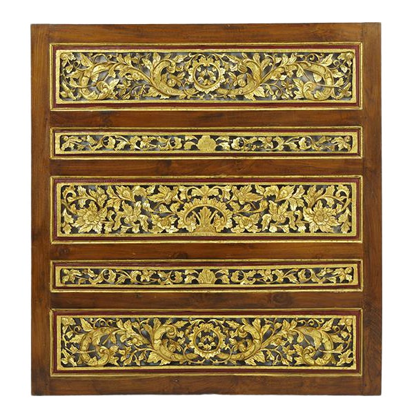 1920s Vintage Chinese Carved Giltwood Screen For Sale