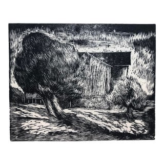 Country House Woodcut by Roy Charles Fox 1940s For Sale