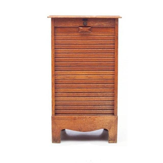 Mid-Century Danish Modern Tiger Oak Tambour Cabinet For Sale - Image 11 of 11