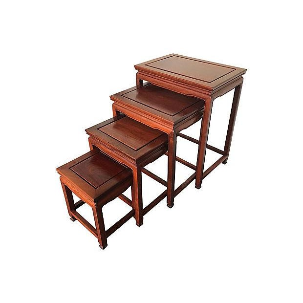 Late 20th Century Chinese Rosewood Asian Nesting Tables - Set of 4 For Sale - Image 5 of 5
