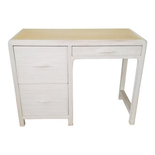 Vintage White Wash Pencil Reed Rattan Desk . For Sale