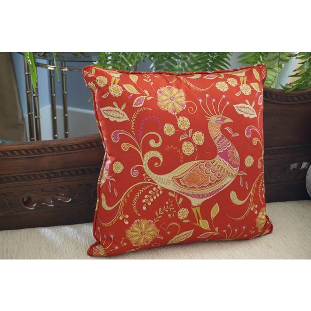 Red Chinoiserie Peacock Pillow For Sale - Image 5 of 5