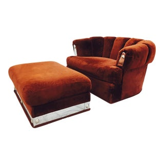 Vintage Mid-Century Modern Chair & Ottoman For Sale