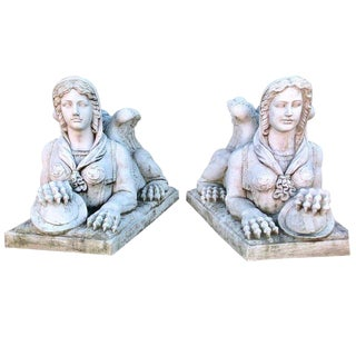 Pair of Large Sphinx Seated Figures For Sale