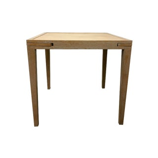 1970s English Traditional Cerused Oak Game Table With Pull-Out Cup Trays For Sale