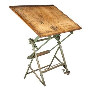 Vintage Industrial French Architect's Drawing Table From L. Sautereau For Sale