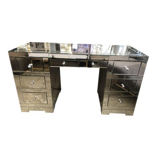 "Modern Bungalow 5 ""Amanda"" 3-Part Mirrored Partner Desk For Sale"