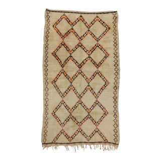 Beni Ouarain Vintage Moroccan Rug with Mid-Century Modern Style