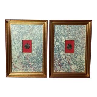 Vintage Hand Carved Framed Amulets - a Pair For Sale