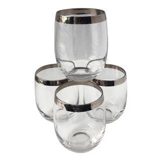 1960s Art Nouveau Lowball Silver Rim Glasses - Set of 4