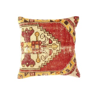 "Vintage Turkish Pasargad Hand Knotted Rug Pillow - 20 x 20"" For Sale"