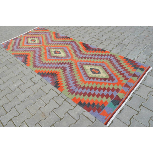"Handmade Turkish Kilim Runner - 3'8"" X 9'8"" - Image 2 of 10"