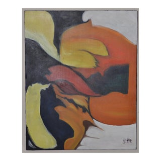 Bold Mid Century Modern Abstract Oil Painting by Epa C.1970 For Sale