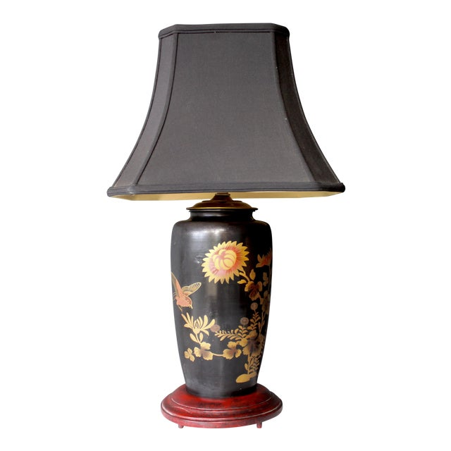 Antique Japanese Bird & Flower Enameled Lamp Chinoiserie Silk Pagoda Shade For Sale