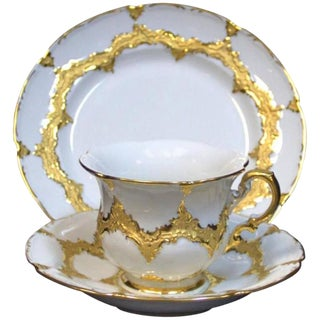 19th Century German Meissen Gold Gilt Dessert Set - 3 Pc. For Sale