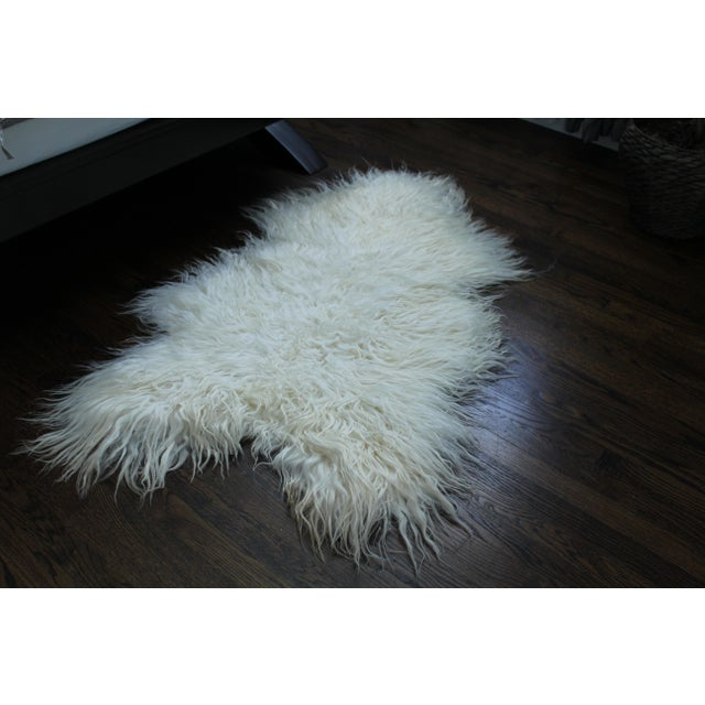 2010s Contemporary Icelandic Sheepskin Shade of White Rug Throw For Sale - Image 5 of 9