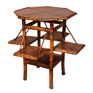 Antique Aesthetic Period Octagonal Top Bamboo Table