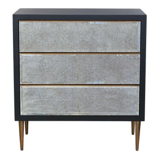 Port 68 Modern Black and Antique Mirror Chest of Drawers For Sale