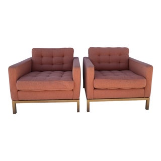 1980s Vintage Florence Knoll Wood Base Lounge Chairs- A Pair For Sale