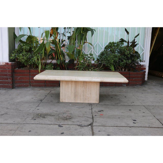 Tan Vintage Mid Century Travertine Coffee Table For Sale - Image 8 of 9