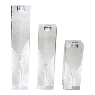 Vintage Art Deco Solid Acrylic Plexiglass Candle Holders With Leaf Design - Set of 3 For Sale