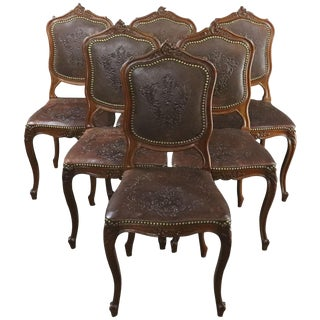 Dining Chairs Louis XV Rococo Walnut Leather For Sale