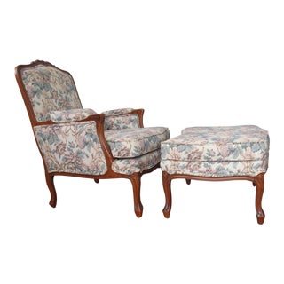 1990s Ethan Allen Bergere Chair and Ottoman - a Pair