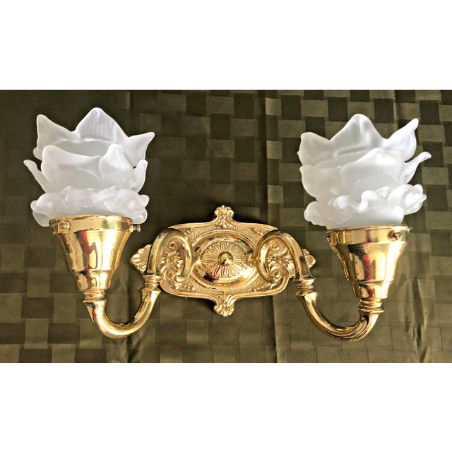 Vintage Mid-Century Frosted Glass Shade Brass Sconces - A Pair For Sale - Image 9 of 11