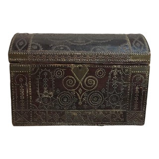 18th Century Leather Trunk For Sale