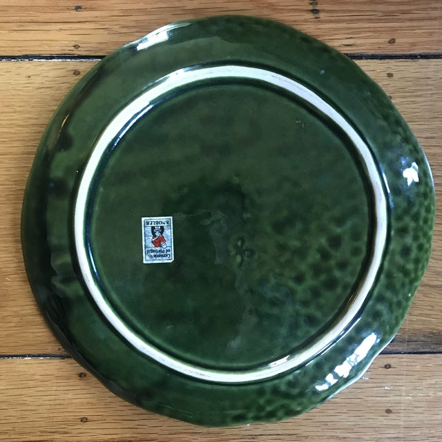 Ceramic Vintage Portuguese Ceramic Cabbage Platter For Sale - Image 7 of 9
