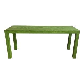 Mid Century Vintage Apple Green Faux Bois Parsons Console Table For Sale