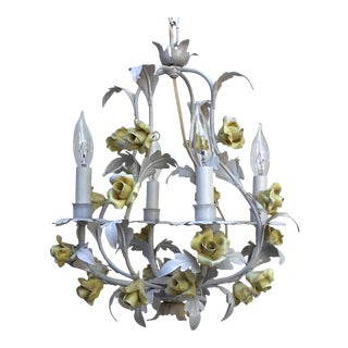 Vintage Italian Toleware Chandelier Birdcage With White & Yellow Floral Details For Sale