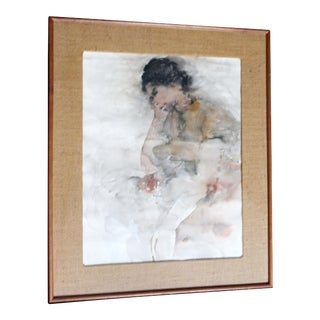 Contemporary Framed Female Portrait Watercolor Painting Signed Richard Jerzy For Sale