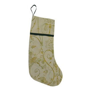Artisanal Green Holiday Gift Stocking Double-Sided For Sale