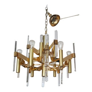 1970's Mid Century Italian Gaetano Sciolari Brass Crystal Chandelier For Sale