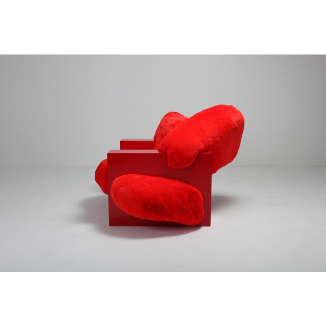 2010s 'Pillow Lounge Chair' in Red Lacquer and Faux Fur by Schimmel & Schweikle For Sale - Image 5 of 11