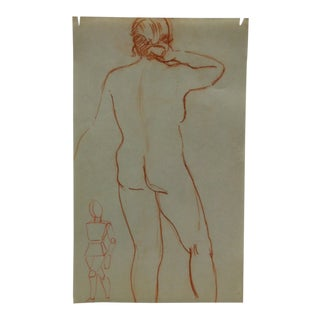 """Vintage Original Drawing on Paper, """"Rear"""" by Tom Sturges Jr., Circa 1945 For Sale"""