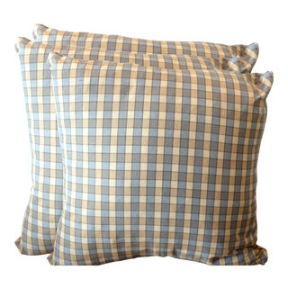 Pierre Frey French Plaid Pillow Covers - Set of 3 For Sale