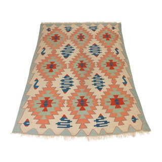 Vintage Neutral-Tone Kilim Area Rug For Sale
