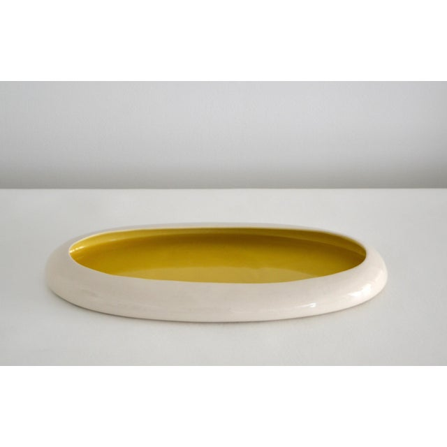 Ceramic 1930s Mid-Century Yellow and White Ceramic Bowl For Sale - Image 7 of 13