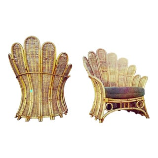 Original Vintage Palm Frond Peacock Rattan Bamboo Lounge Chairs - a Pair For Sale