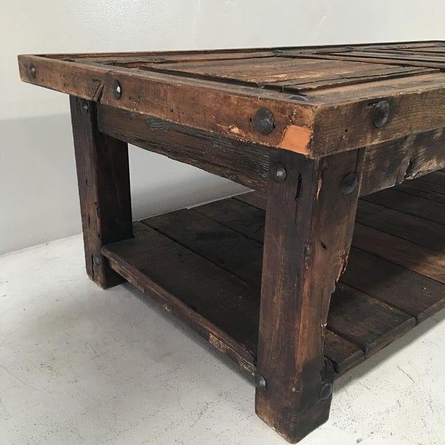 Rustic Wooden Coffee Table - Image 4 of 8