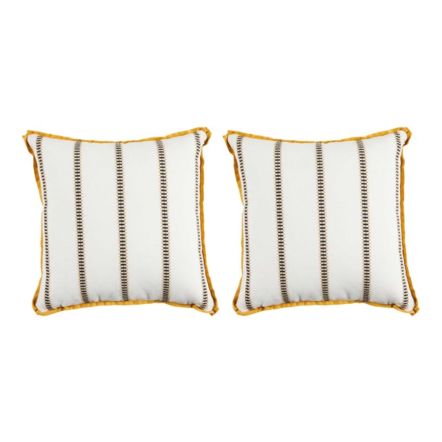 """Summer Classics Pair of Indoor/Outdoor Gingham Stripe Pillows in Mustard, 24""""x 24"""" For Sale"""