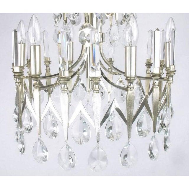 Rare Italian Import Gaetano Sciolari Silver and Crystal Nine-Light Chandelier - Image 4 of 7