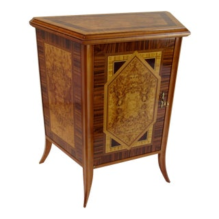 1980s-90s Italian Regency Inlaid Burl Wood Entry or Hall Chest For Sale