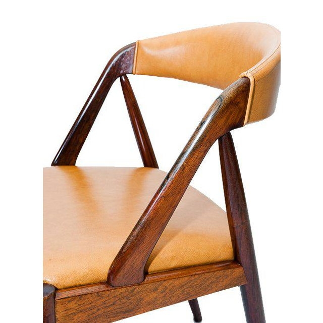 Brown Set of Six Rosewood Kai Kristiansen Chairs For Sale - Image 8 of 9