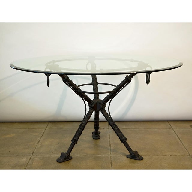 "Ilana Goor Dining Table (attribution) Iron Base With Beveled Top 1/2"" beveled top"